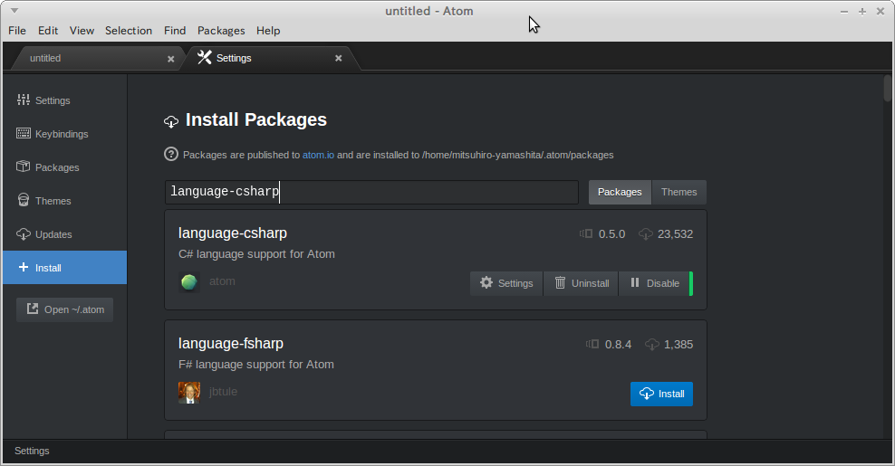 Atom-plugin-language-csharp
