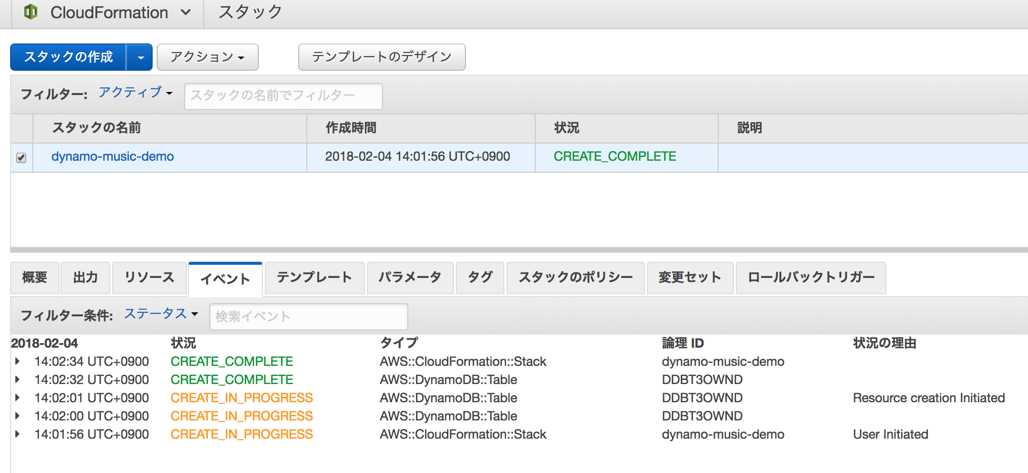 AWS CloudFormationでAmazon DynamoDBテーブルを作ってアイテム